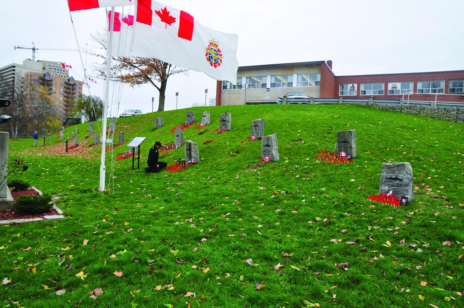 The Battle of the Atlantic Memorial at HMCS Prevost in London, Ont. The memorial receives a constant flow of visitors. Many are veterans with mobility issues, which makes access difficult or limited.