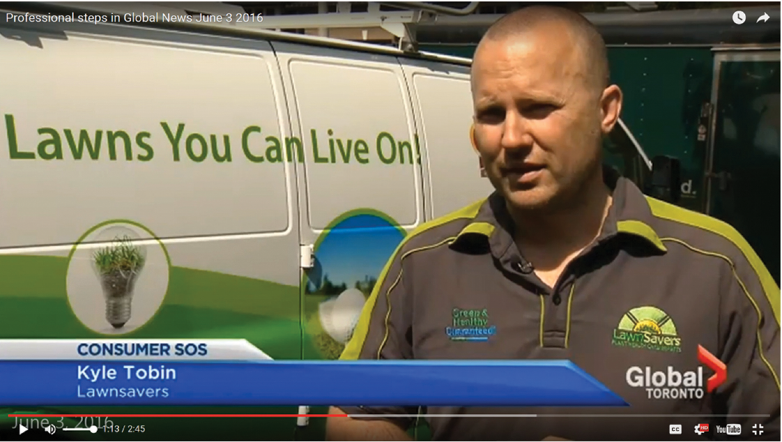 On June 3, 2016, LO member Kyle Tobin of LawnSavers Plant Health Care (pictured above) and Hank Deenen Landscaping appeared on Global News in Toronto when they came to the aid of a homeowner who had paid another contractor to perform some maintenance on her property and got poor results. Tobin saw the story on Twitter and says he immediately wanted to respond becasue the situation made the industry look bad.