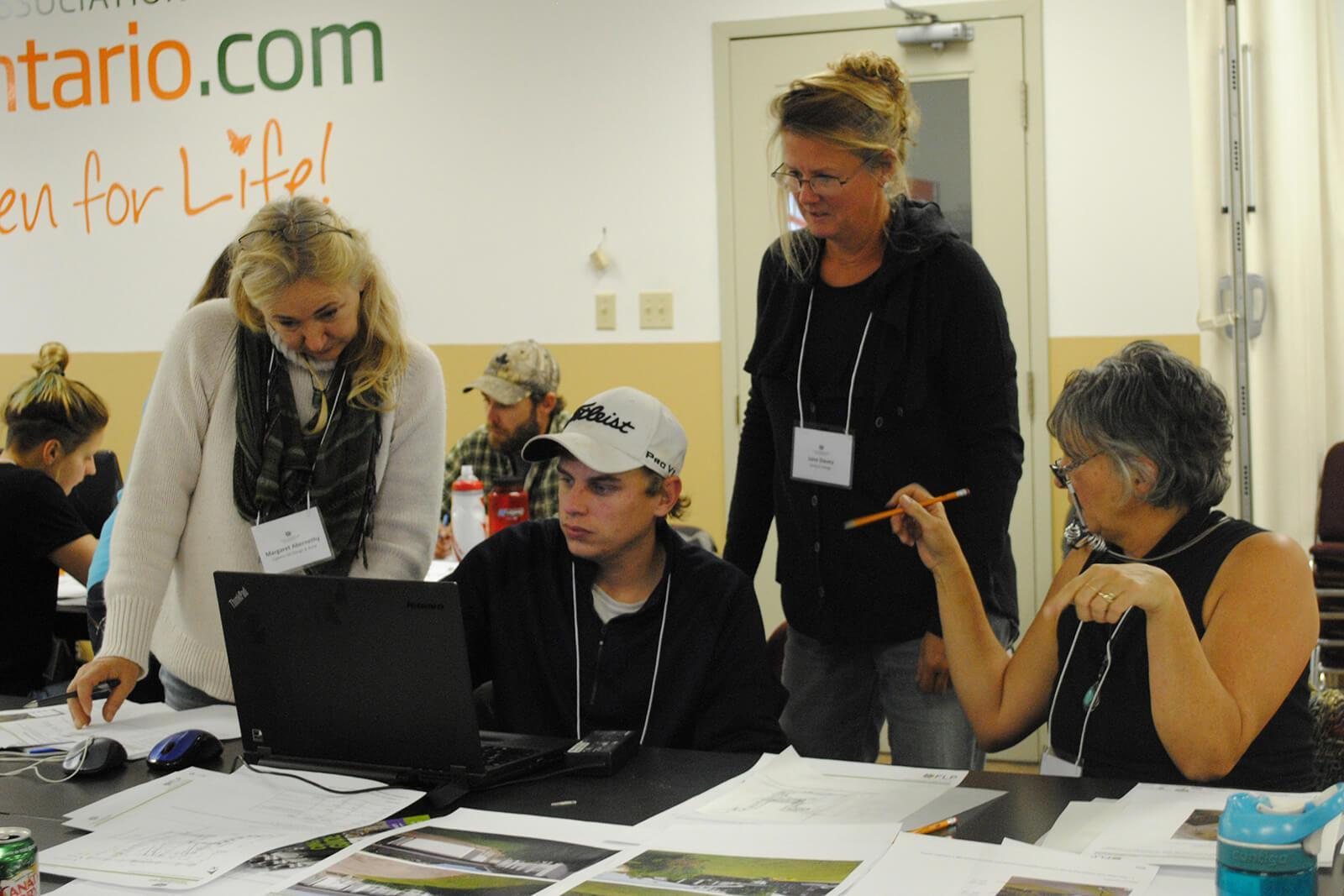 (L-R): Margaret Abernethy, Mike Prong, Jane Davey and Anna van Maris collaborate during the Fusion training session held in November 2017.