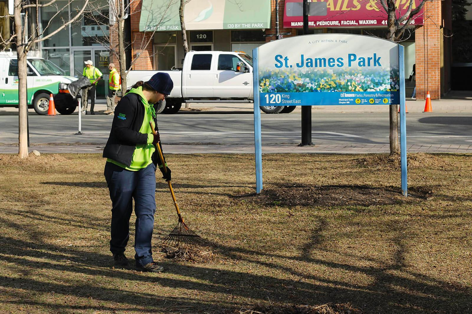 Volunteers began the clean up by raking the turf in the park.