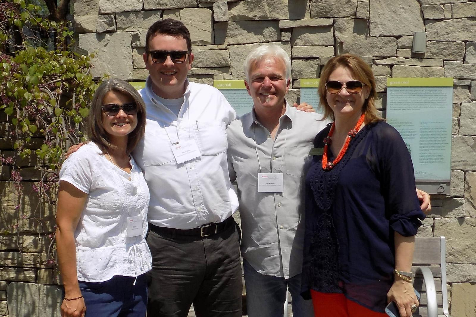 Valerie Groves (Landscape Plus), Ben Cullen (Mark's Choice), Jim Mosher (Landscape Plus) and Claudia Zuccato Ria (Toronto Botanical Garden). Mark's Choice and Landscape Plus sponsored this year's Through the Garden Gate tour.