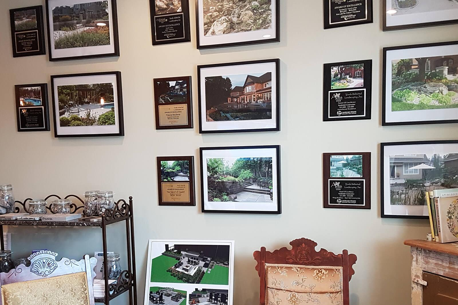 Yards Unlimited Landscaping proudly displays LO Awards plaques in its studio.