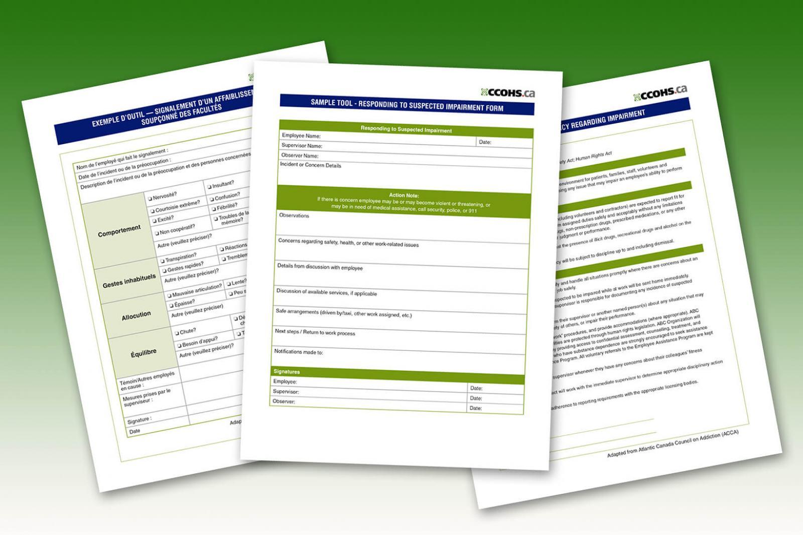 Impairment policy and reporting templates from CCOHS