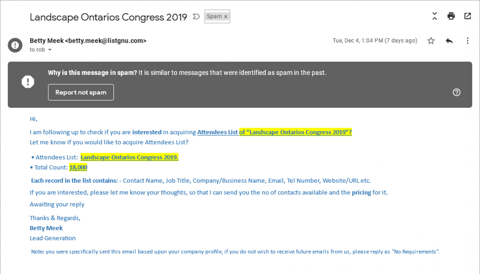 Fraudulent emails offer Congress and other lists for sale