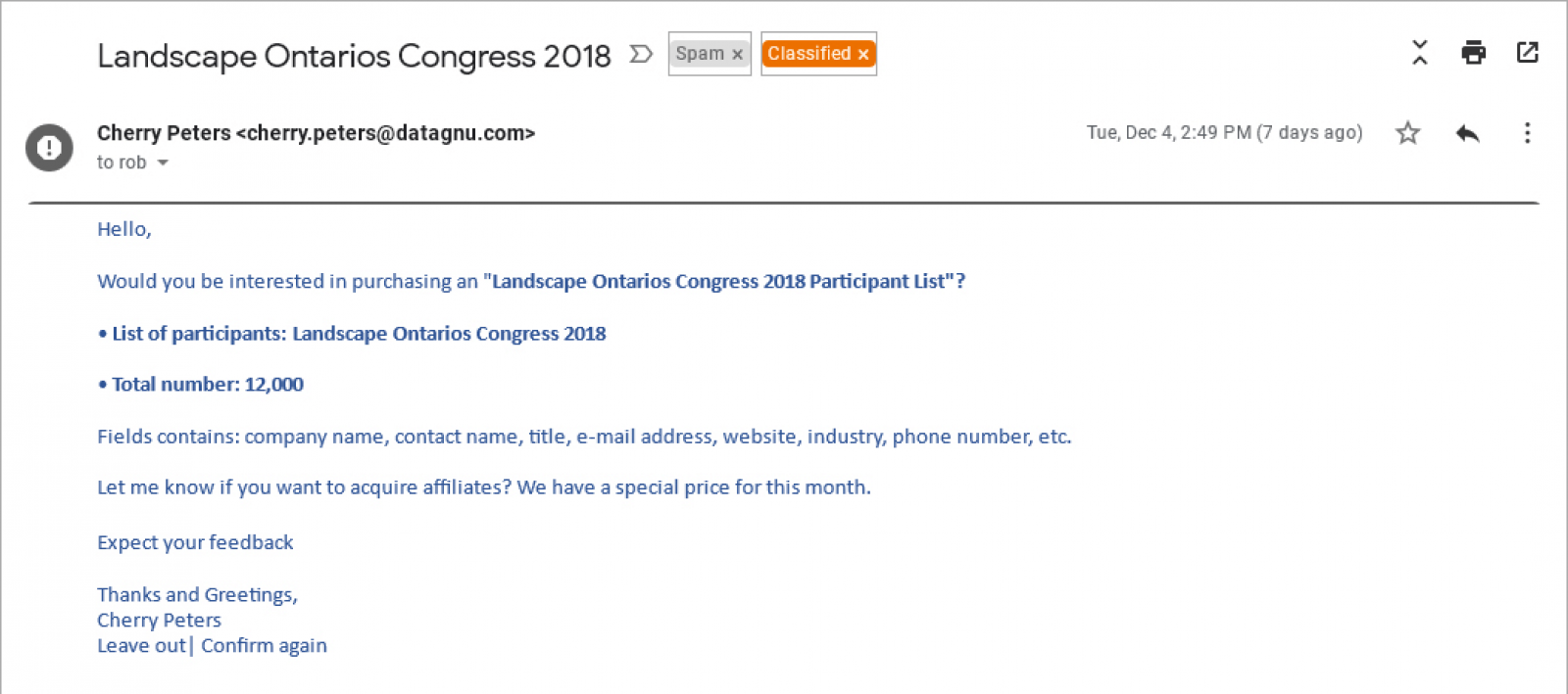 Email messages offering Congress lists are not from Landscape Ontario