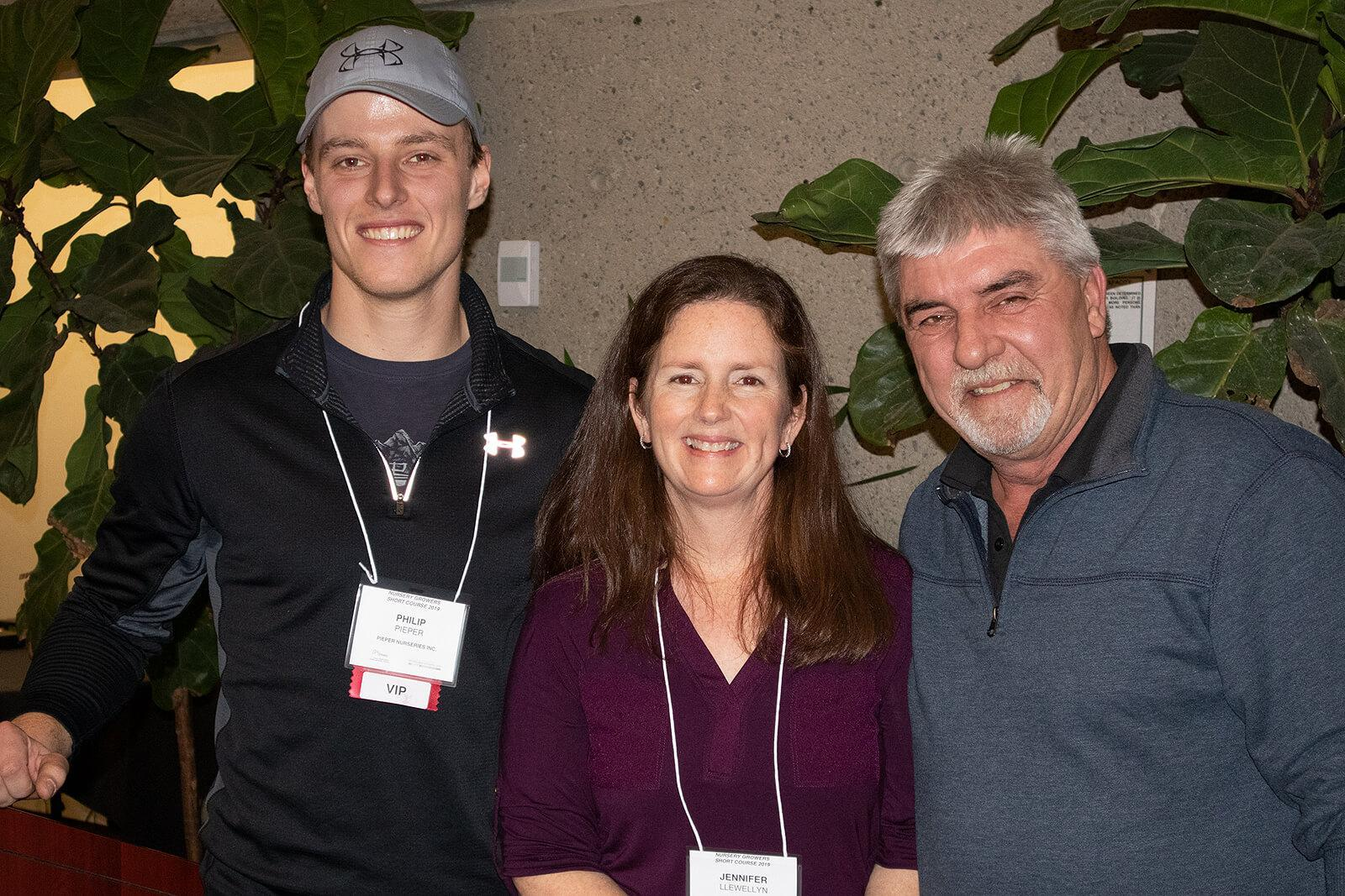 Philip Pieper, Jen Llewellyn and Case Vanderkruk at the 2019 LO Growers Short Course.