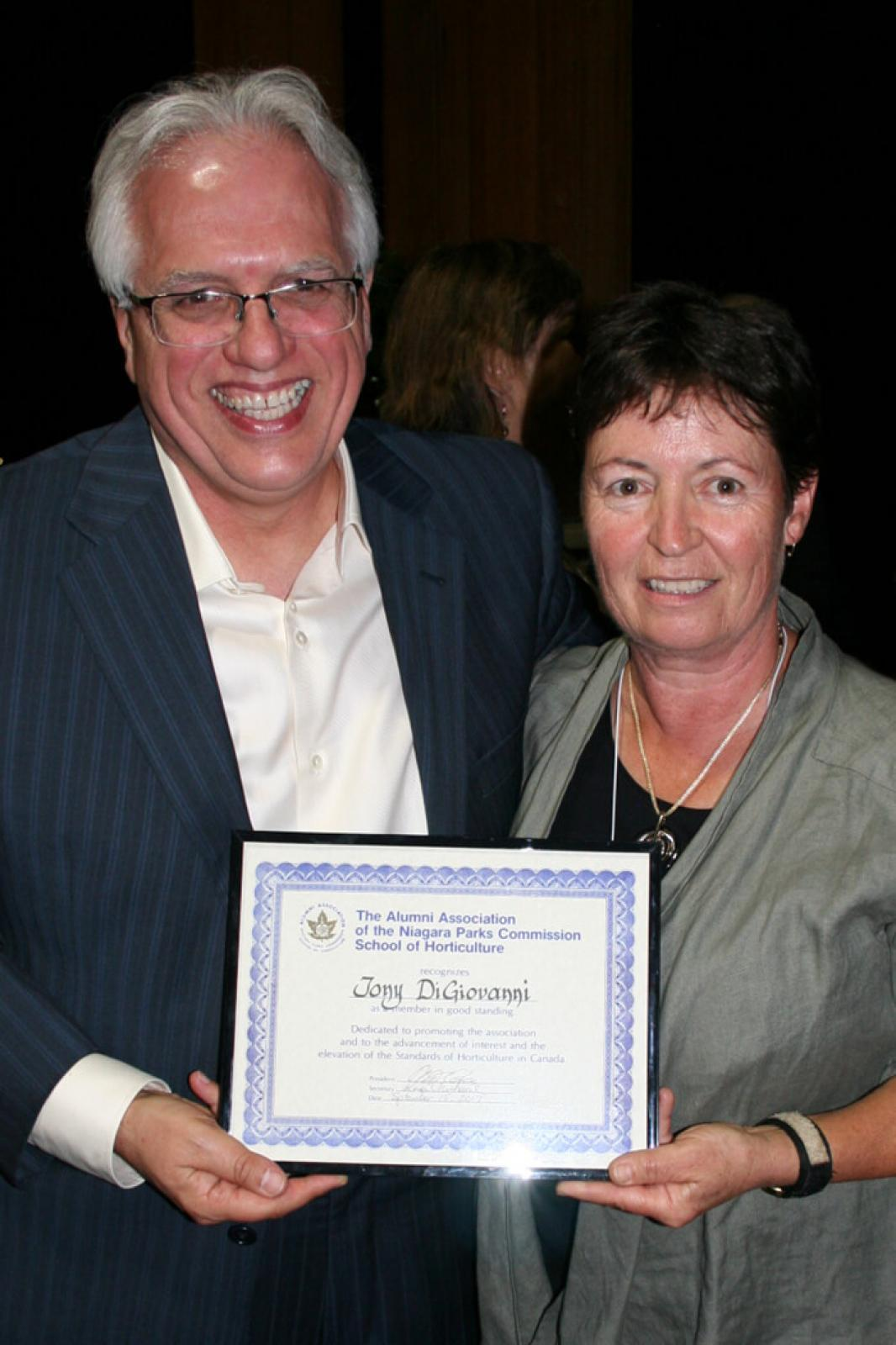 Tony DiGiovanni with Karen Michaud, executive director, Alumni Association of the Niagara Parks School of Horticulture.