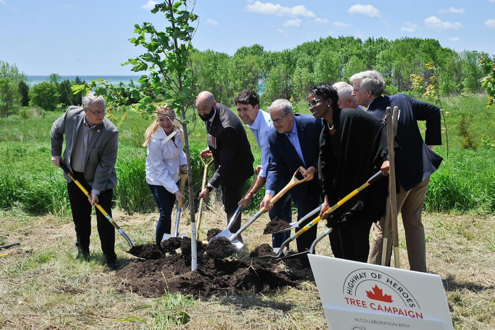 Prime Minister Justin Trudeau was joined by numerous special guests for a ceremonial tree planting.