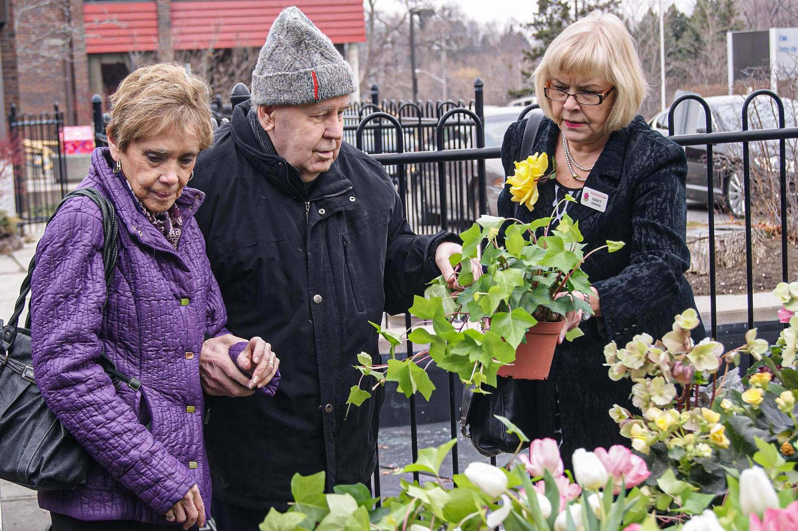 Plant material from Canada Blooms is distributed to various city-run care facilities.