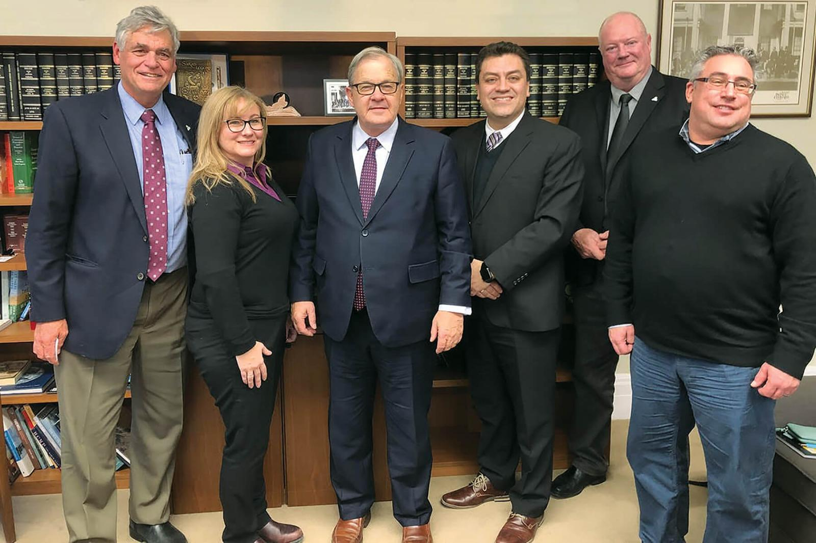 The CNLA delegation made valuable Parliament Hill connections on behalf of members in December. Pictured left to right are Bill Stensson; Leslie Sison; Minister, Lawrence MacAulay; Victor Santacruz; Bill Hardy and Ron Ross.