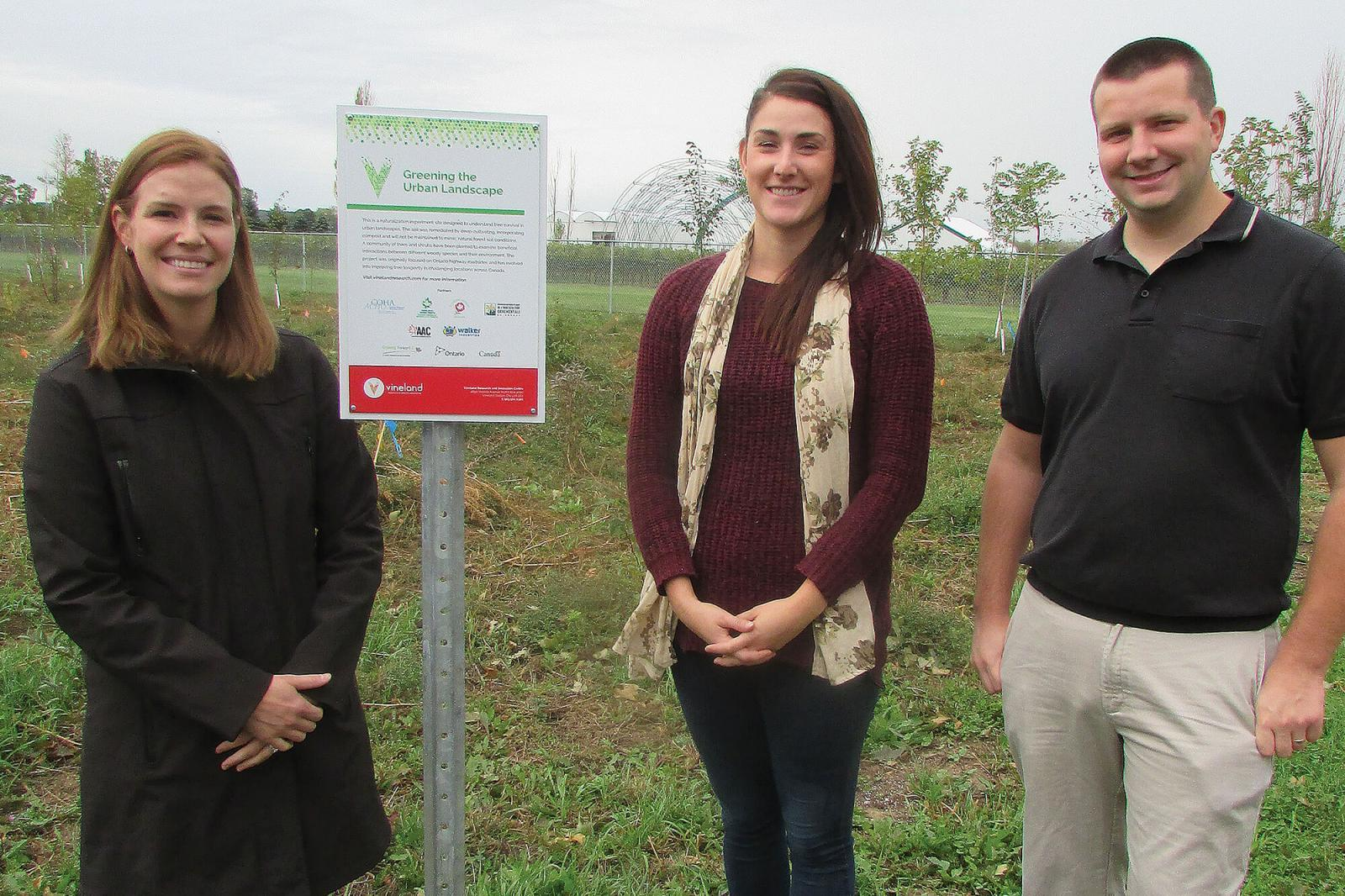 Dr. Darby McGrath, Vineland's Research Scientist, Nursery and Landscape, is joined by her assistants with the highway trees project, Erin Agro, Research Technician, Horticultural Production Systems, and Jason Henry, Research Technician, Nursery and Landscape.