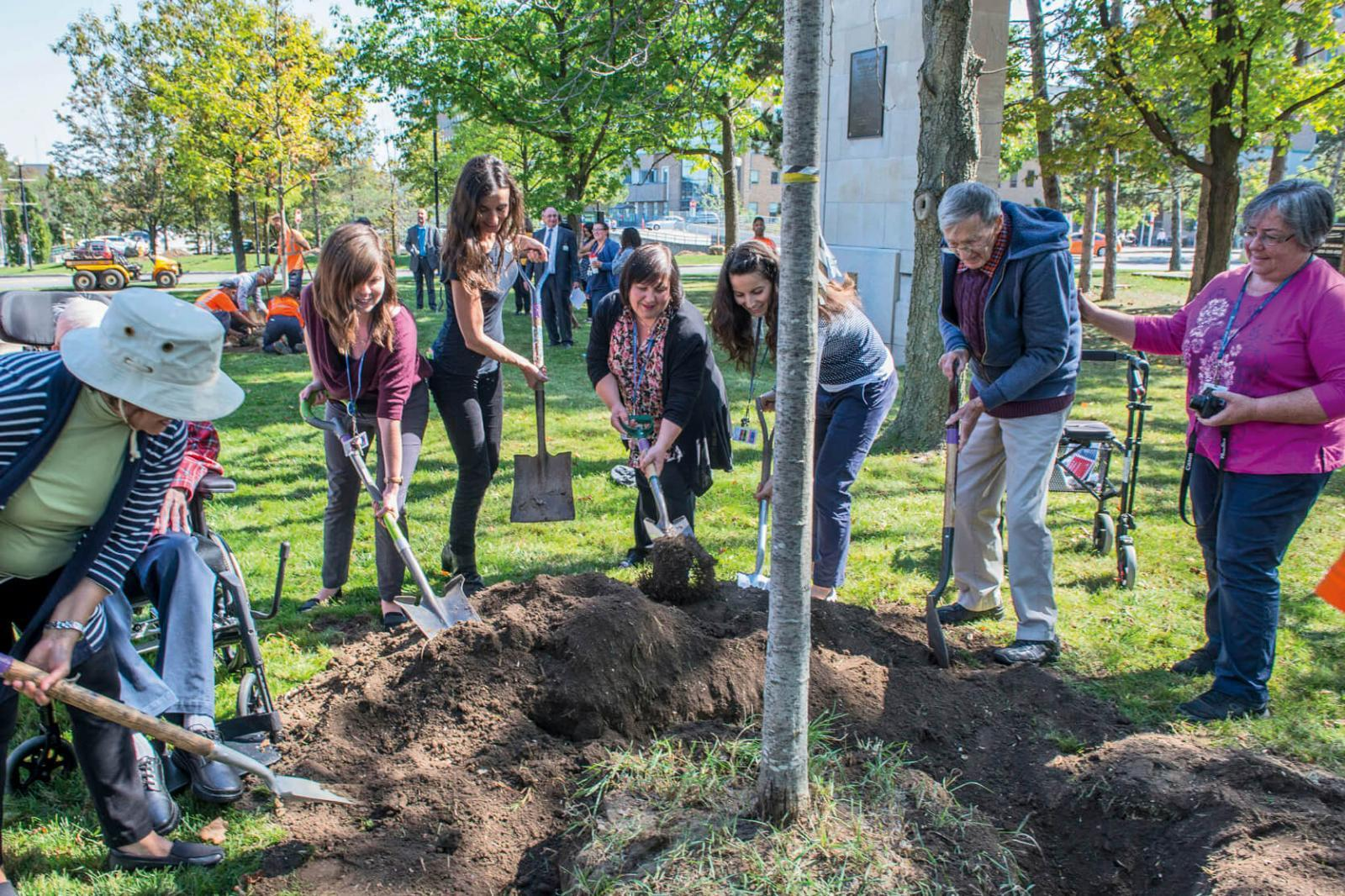 Sunnybrook Hospital in Toronto celebrated National Tree Day by planting trees throughout the property.