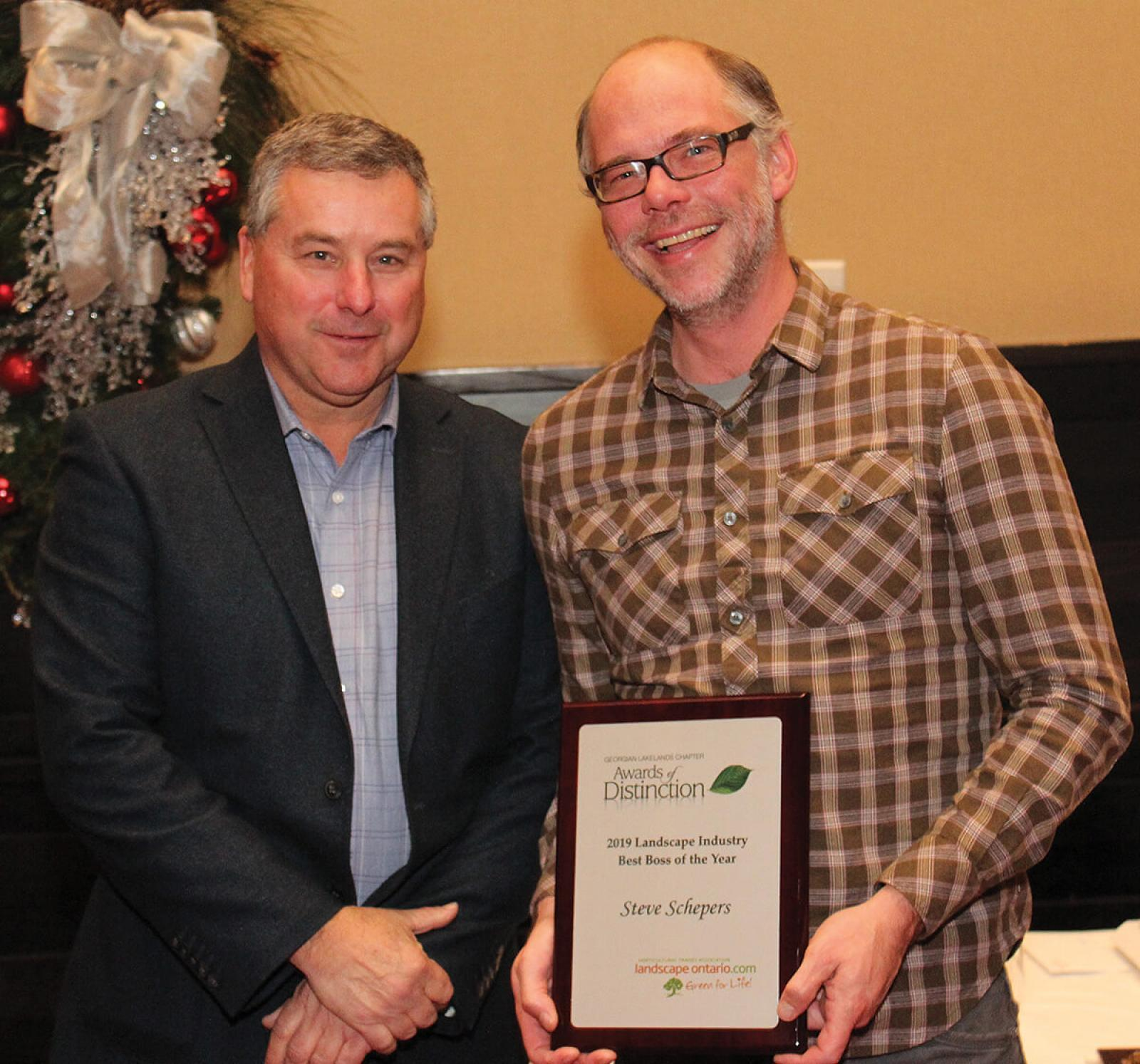 Nick Solty (left) with Boss of the Year winner, Steve Schepers.