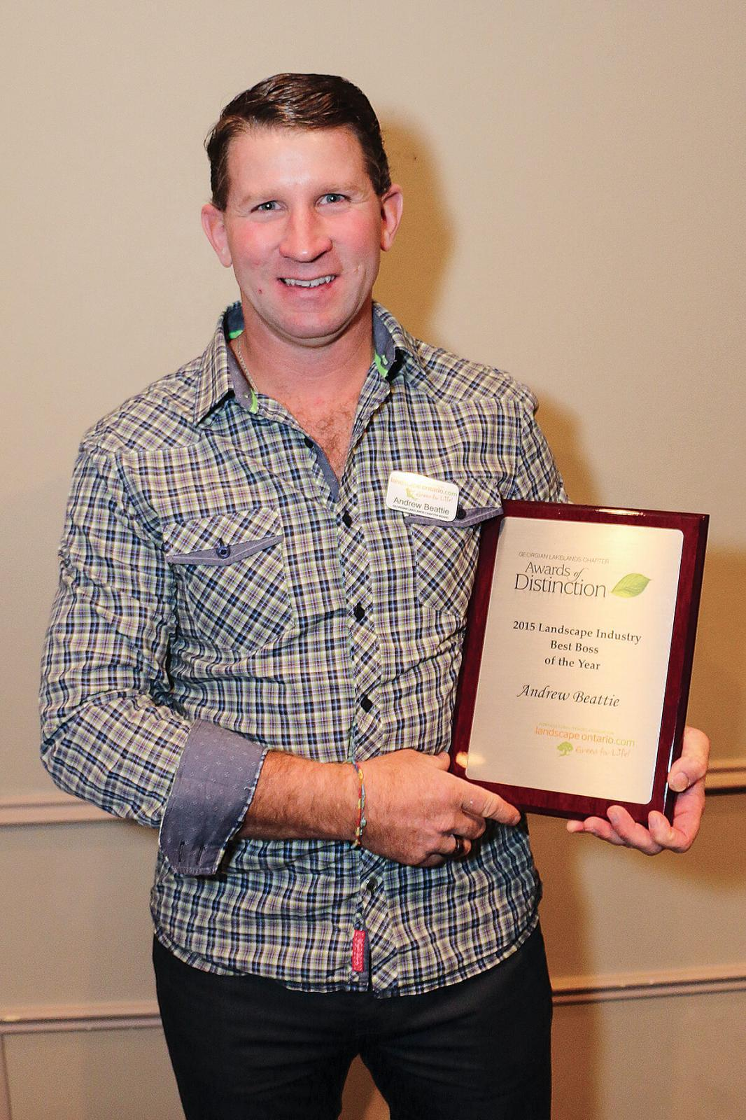 Andrew Beattie CIT, of Ideal Landscape Services in Barrie, was voted Best LO Chapter Boss.