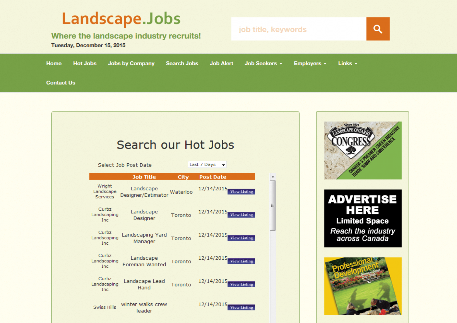 Free jobs resource for landscape industry
