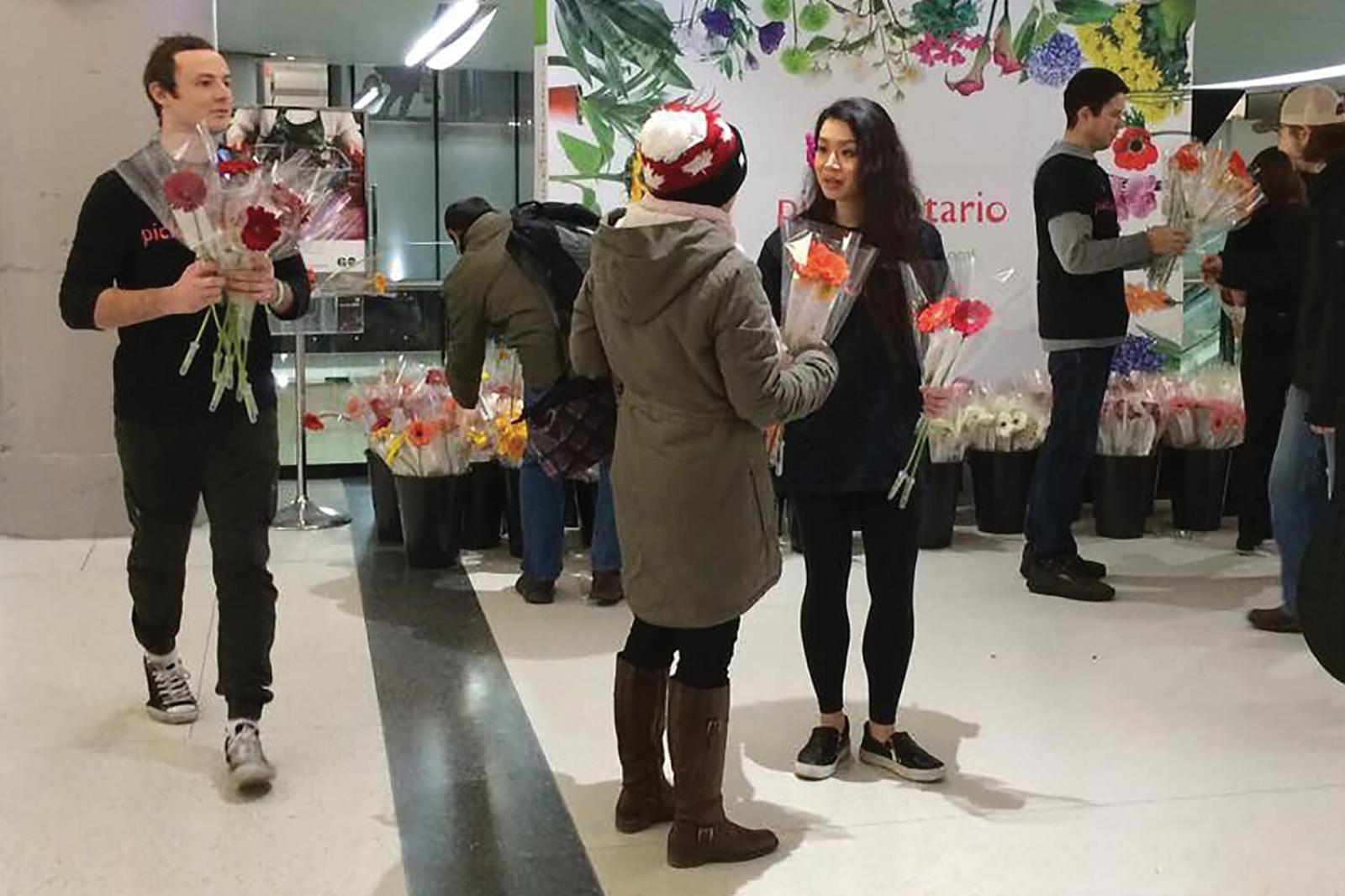 Flowers bring happiness and smiles to Union Station commuters