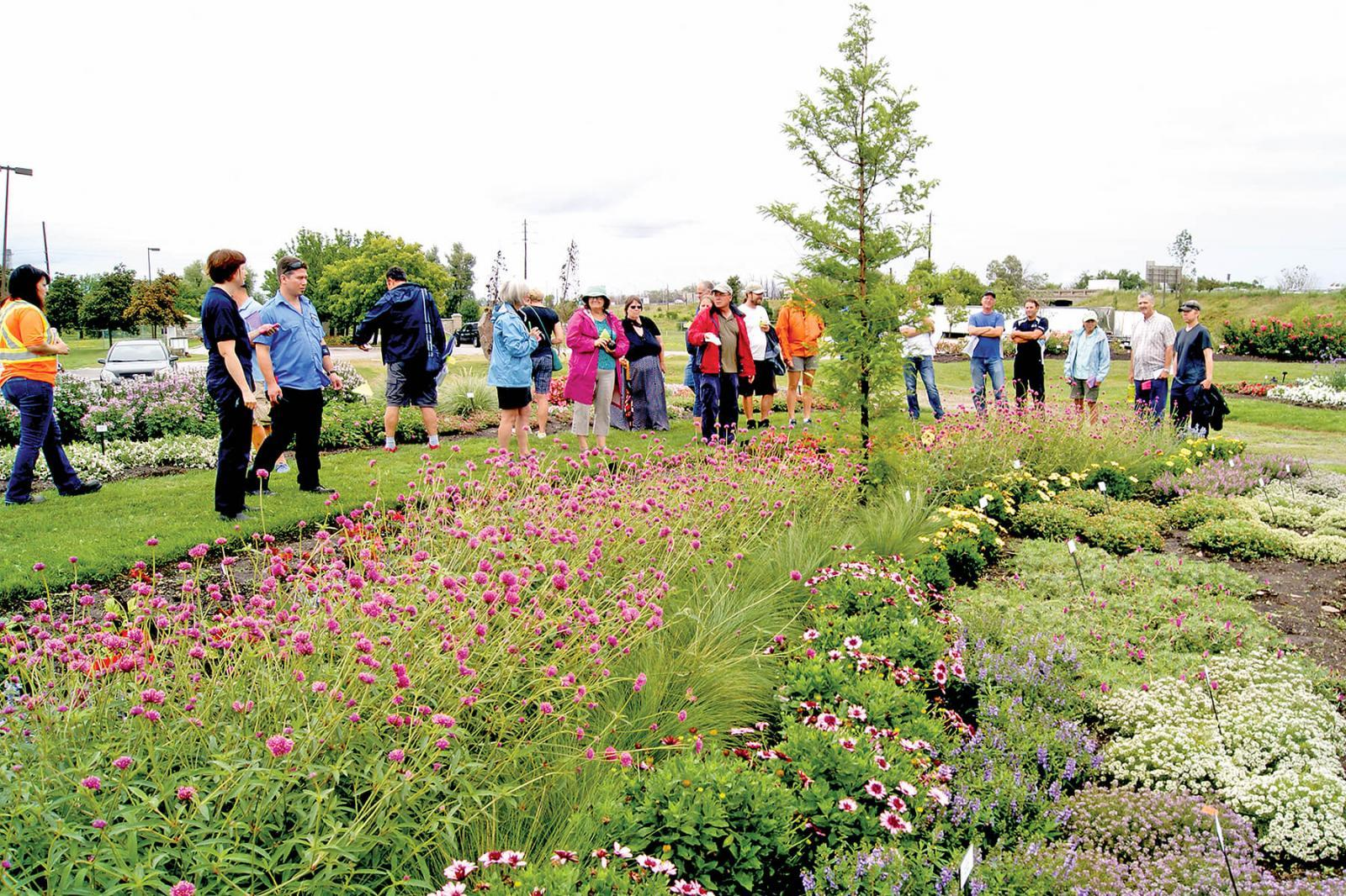 The highlight of this year's Trial Garden Open House was a tour of the beautiful setting led by garden manager Rodger Tschanz.