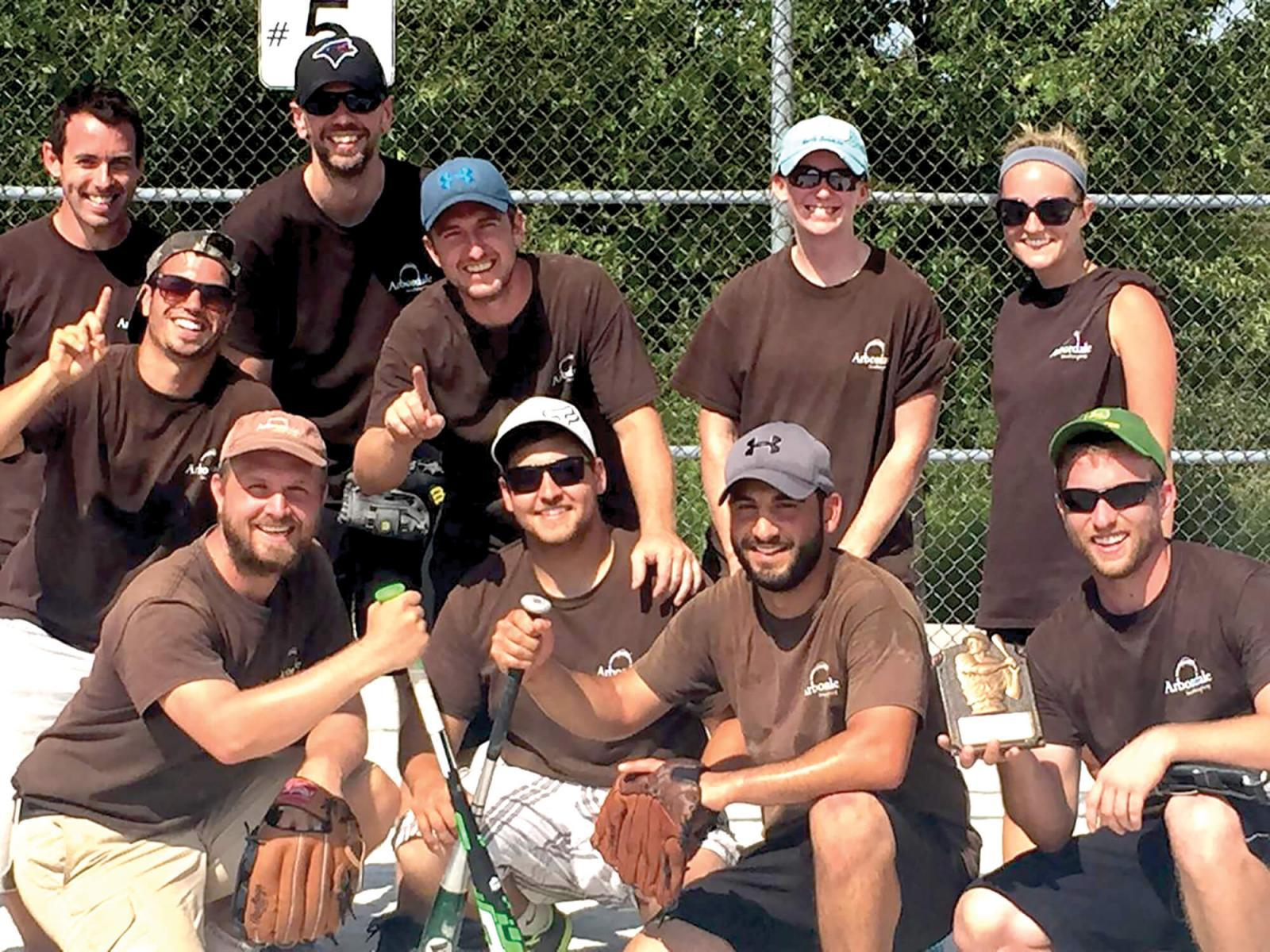 The Arbordale team members are shown in photo after winning the championship. Front row, from left, Martin Zettel, Lucas Kennedy, Mike Brandolino and Blake Tubby; second row, from left, Chris Fazzari, Adam Young, Tiffany Williams and Samantha Tubby; back row, from left, Mark Hoey and Ryan Kent. Missing from photo are Bob Tubby, Andrew Arseneau and Ani Arseneau.