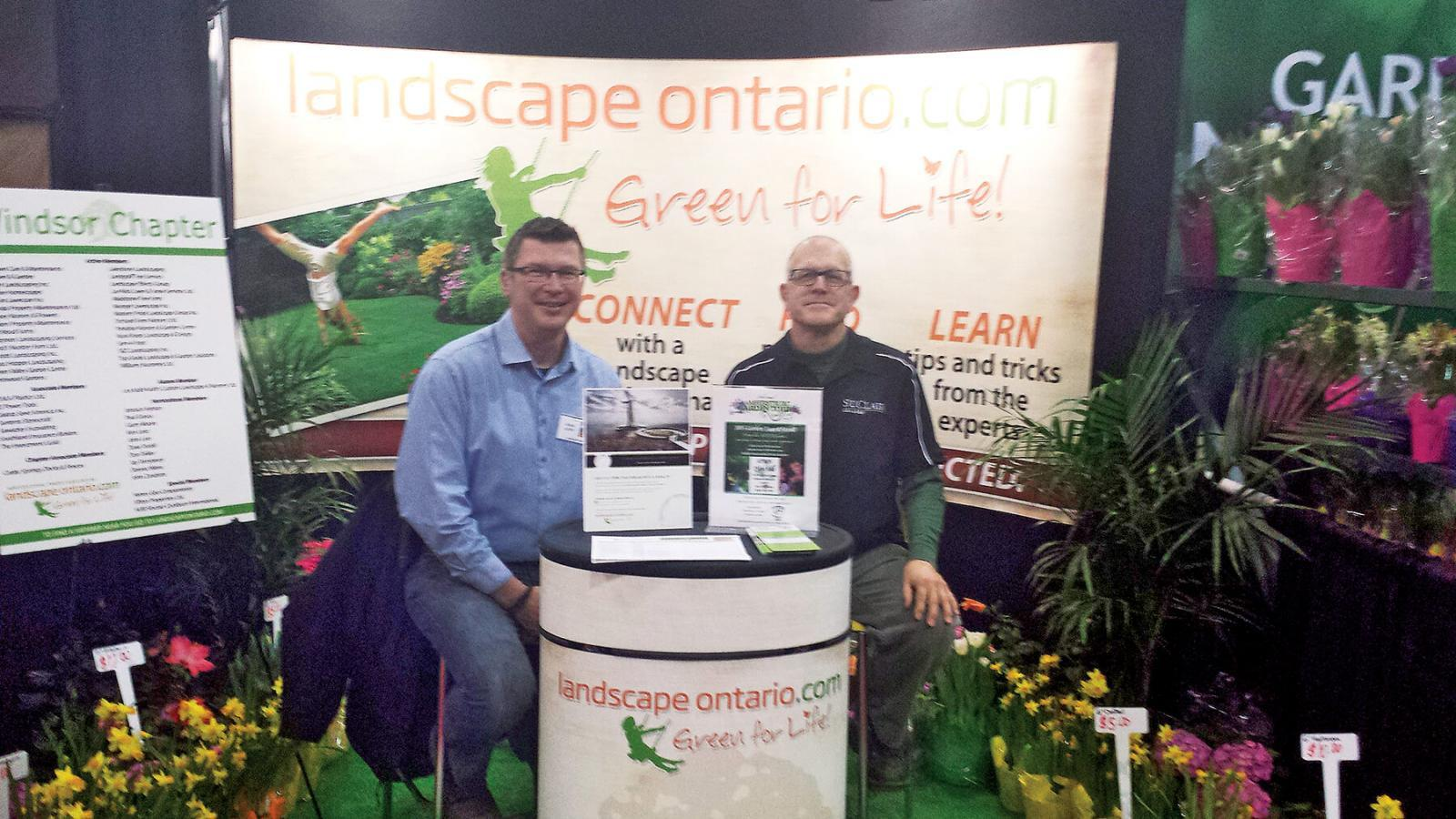 John Lien, left, and Jay Terryberry were among Windsor Chapter members who manned the information booth at the Windsor Home and Garden Show.