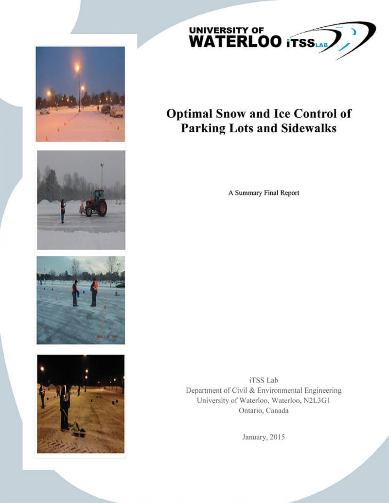 Snow and Ice Control for Parking Lots and Sidewalks summarizes three years of research.
