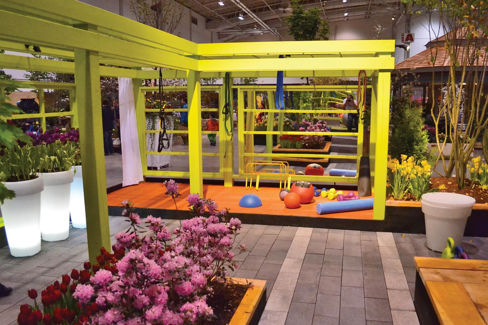 While it is ideal to have a property with various levels and open spaces, an Otium Exercise Garden can fit in any small urban environment. This is Shawn Gallaugher's garden at Canada Blooms in 2012.