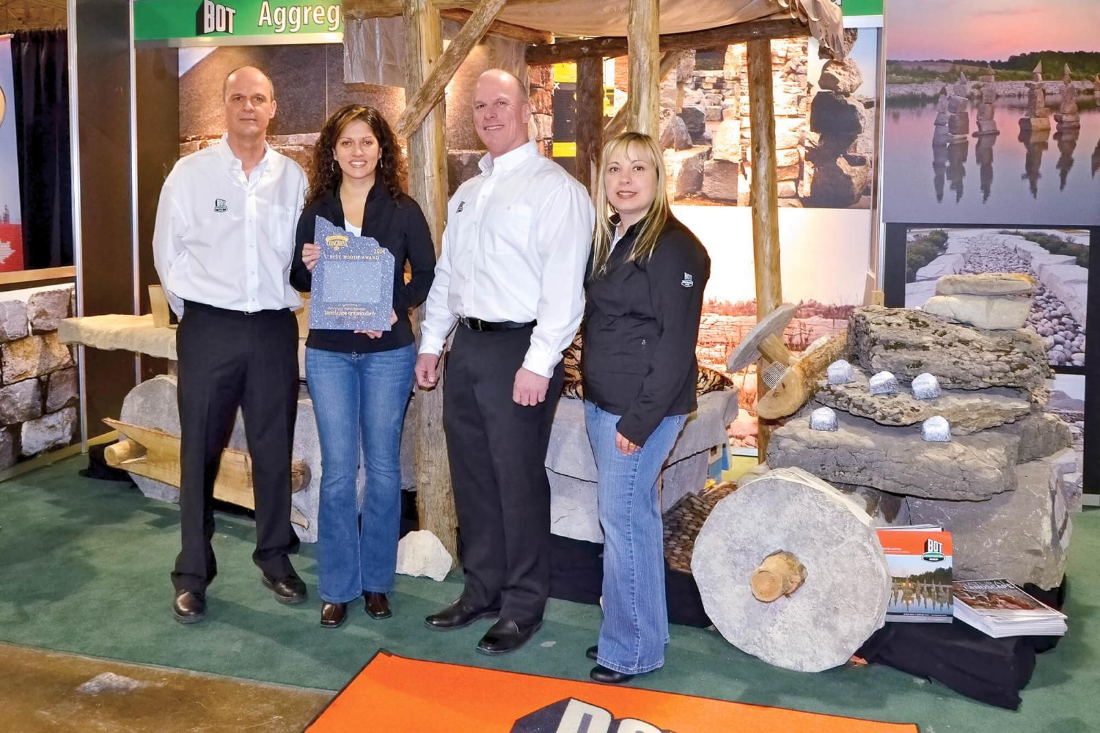 BOT Aggregates of Orillia, Ont., took home the prize for the best booth between 100 and 400 sq,. ft. The Fred Flintstone-type car drew a great deal of attention.