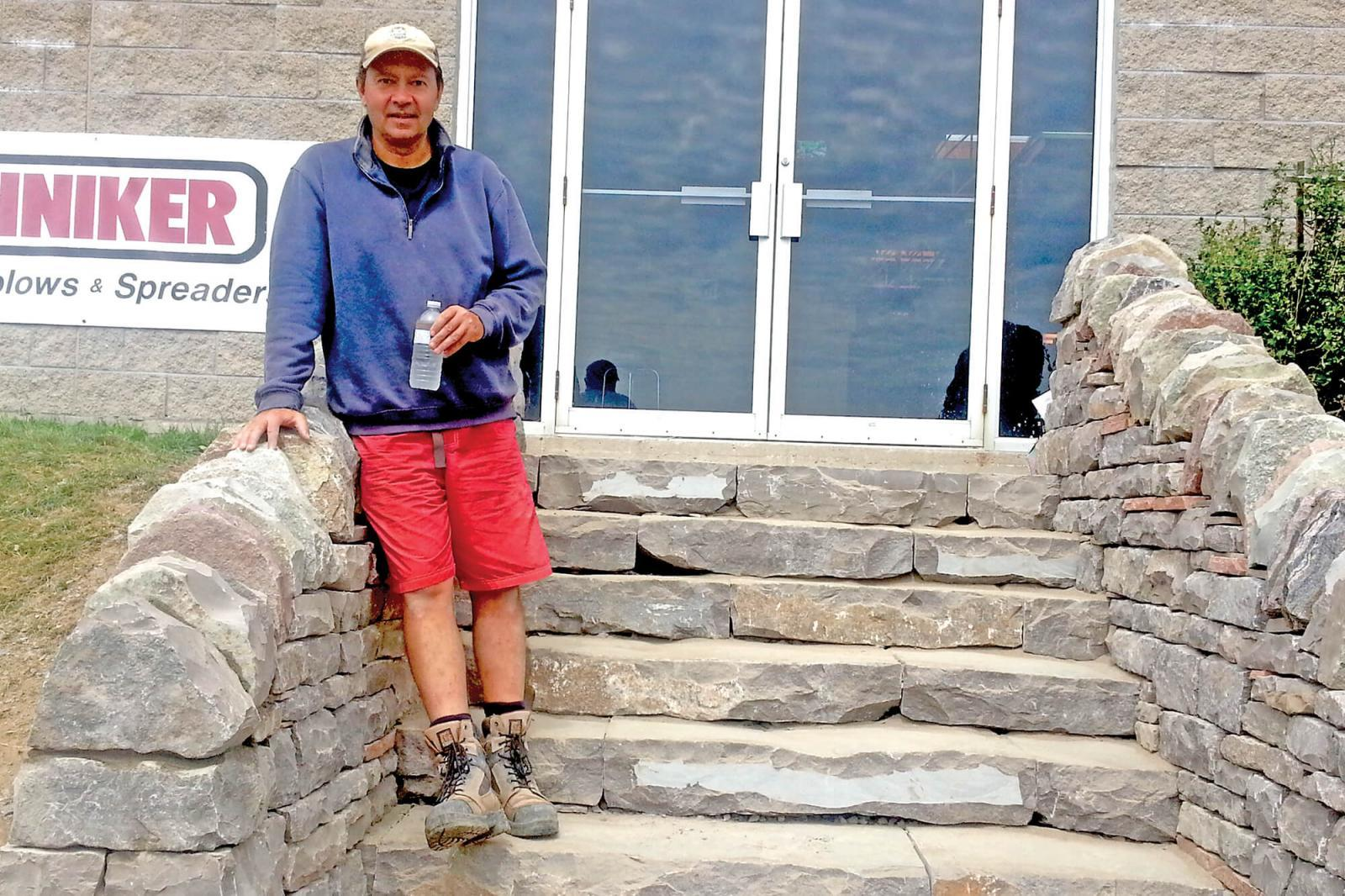 Dean McClellan and a crew from the Saugeen Shores First Nations did an amazing job at building the dry stone steps at LO home office at the entrance to Vanden Bussche Irrigation.