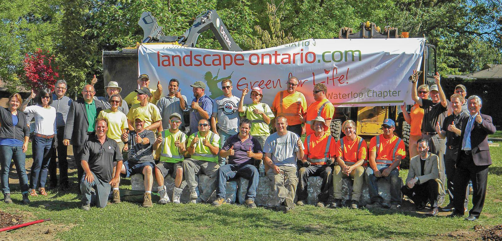 Over 45 Landscape Ontario volunteers helped to complete this year's school greening project in Waterloo Chapter.
