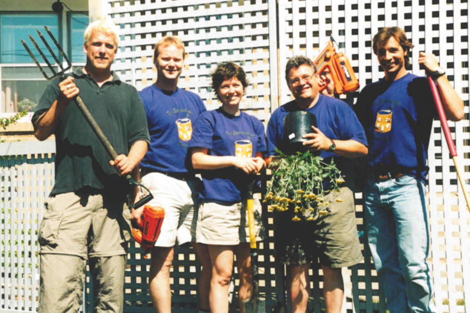 HGTV featured the television show, The Decorating Challenge. Two gardens were designed by LO member Haig Sefarian and membership coordinator Denis Flanagan. In photo, from left, ready to begin one of the shows, are Scott Olsen, show producer, Phill Collier (who now works with Dufferin Aggregates) Laura Collier, Denis Flanagan and the show's carpenter.