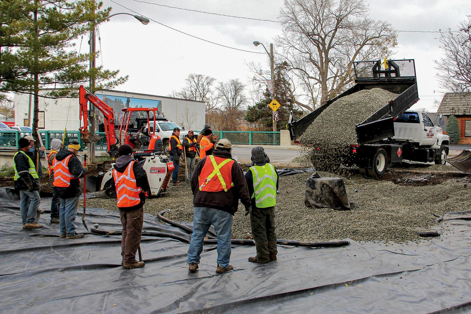 There was no lack of manpower when construction began on Chatham's newest park.
