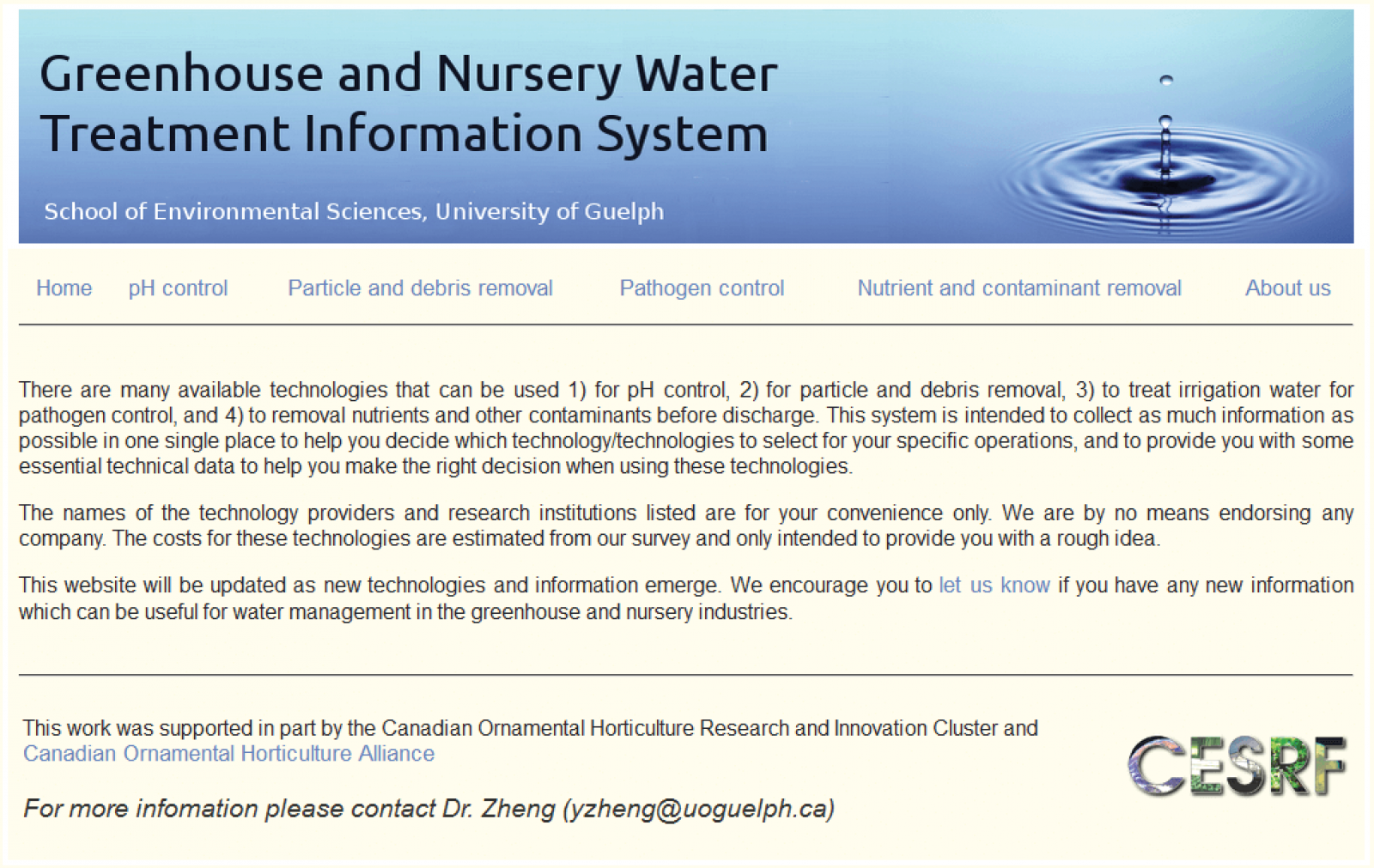 New online tool can help greenhouse and nursery sector with water treatment information.
