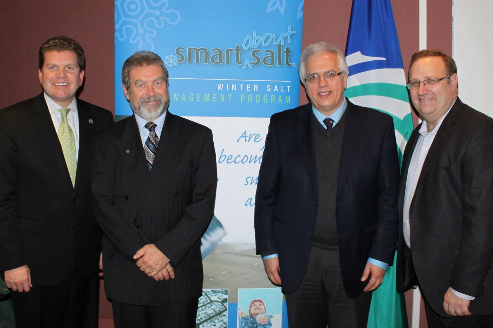 From left, Ottawa Councillor Steve Desroches, Bob Hodgins, Smart about Salt, Tony DiGiovanni, and Dean Karakasis, BOMA, after a successful Smart About Salt Summit.