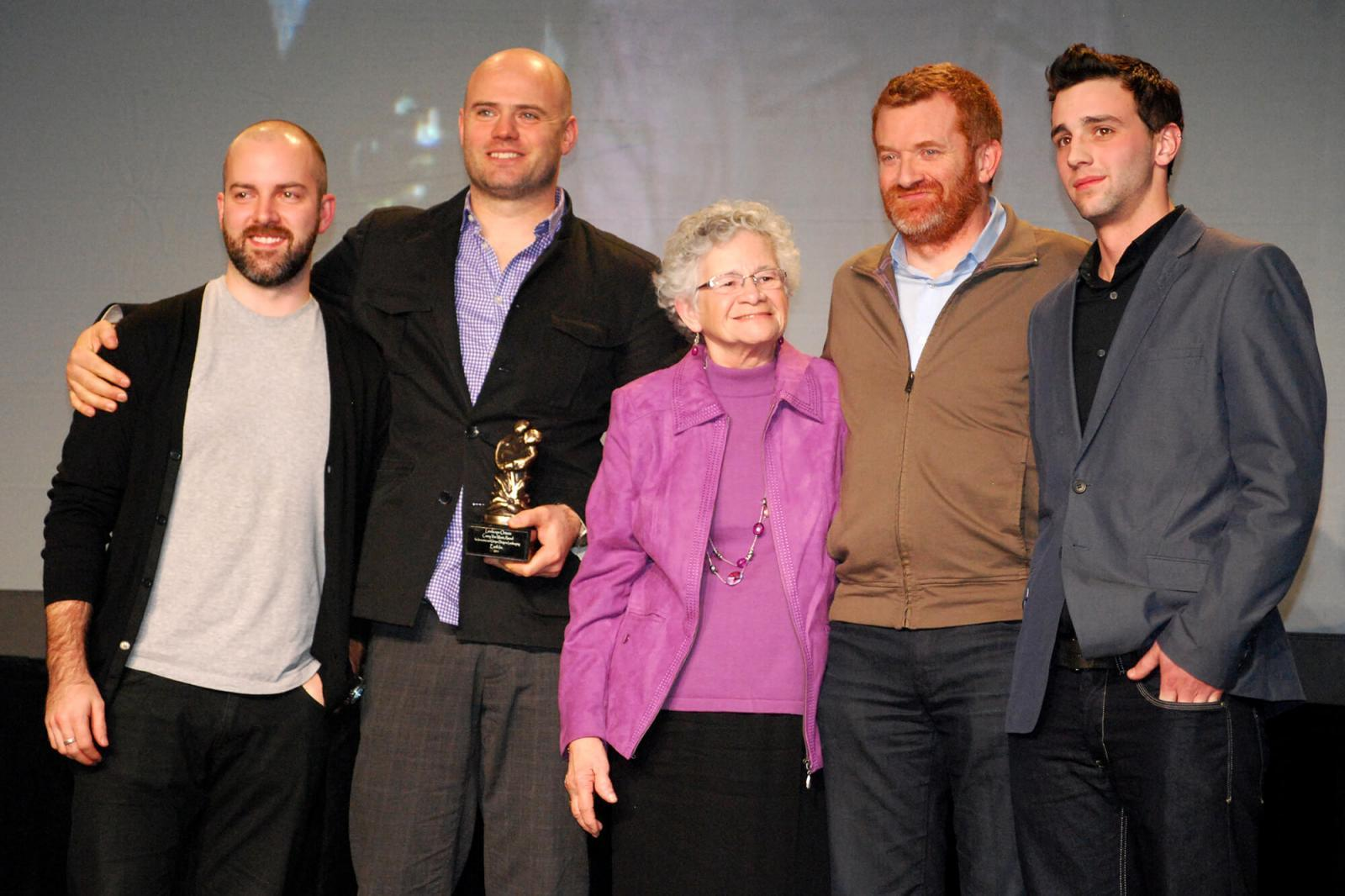 Accepting the Casey van Maris Award are from left, Michael McMartin and James Dale, both of Earth Incorporated of Toronto, Monica van Maris, Kennedy McRae, also of Earth Incorporated and Casey van Maris' grandson, Rob Brubacher.