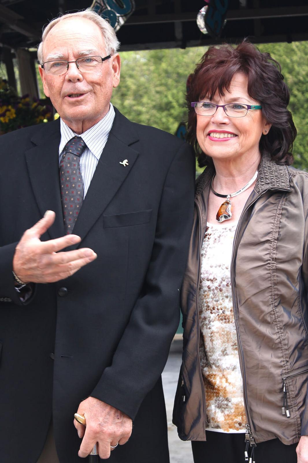 Peter and Doreen Olsen thank the many people who attended Royal City Nursery's 50th anniversary.