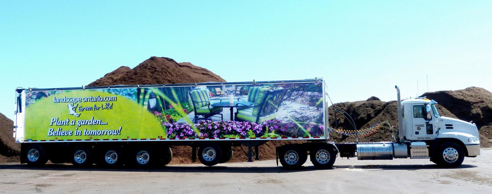 Gro-Bark shows its strong support for Landscape Ontario's Green for Life branding with this transport trailer rolling along Ontario highways.