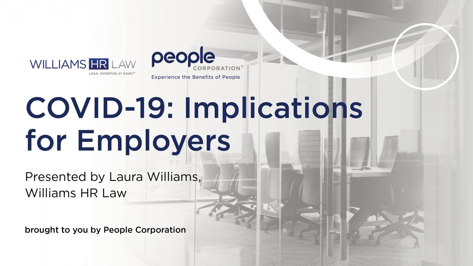 Williams HR Law presents: COVID-19 Implications for Employers