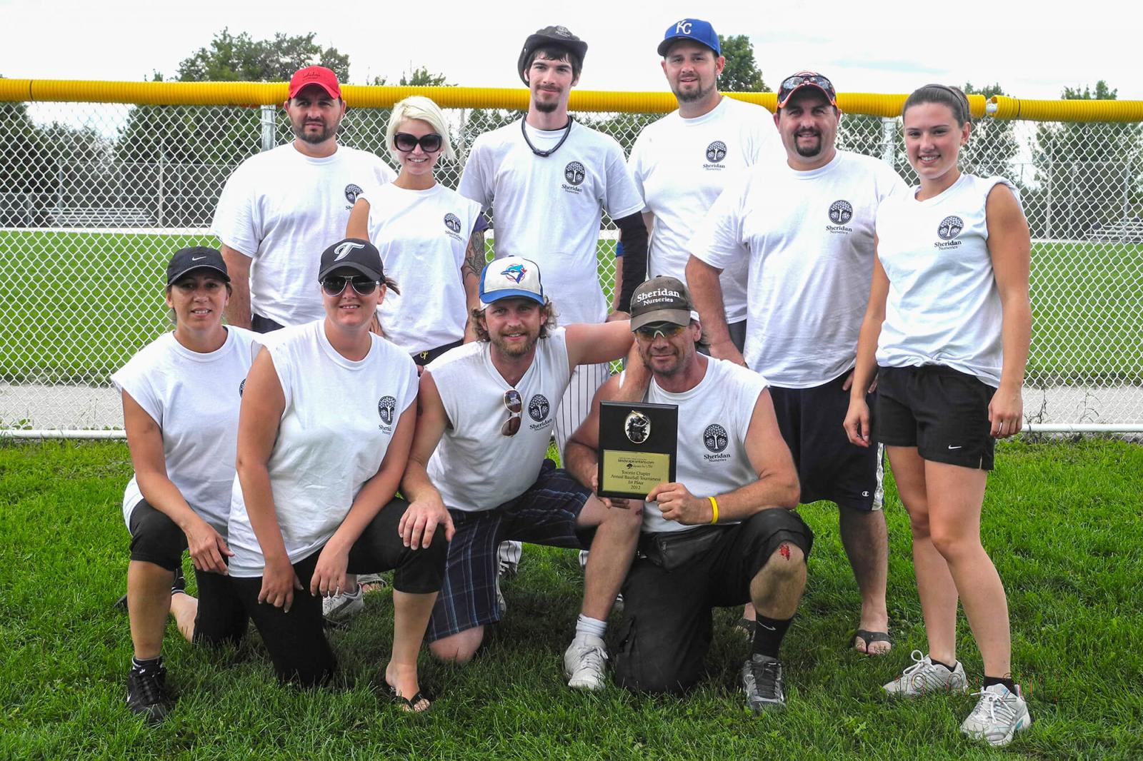 Sheridan Nurseries took home the championship trophy at this year's Toronto Chapter Slo-pitch tournament.
