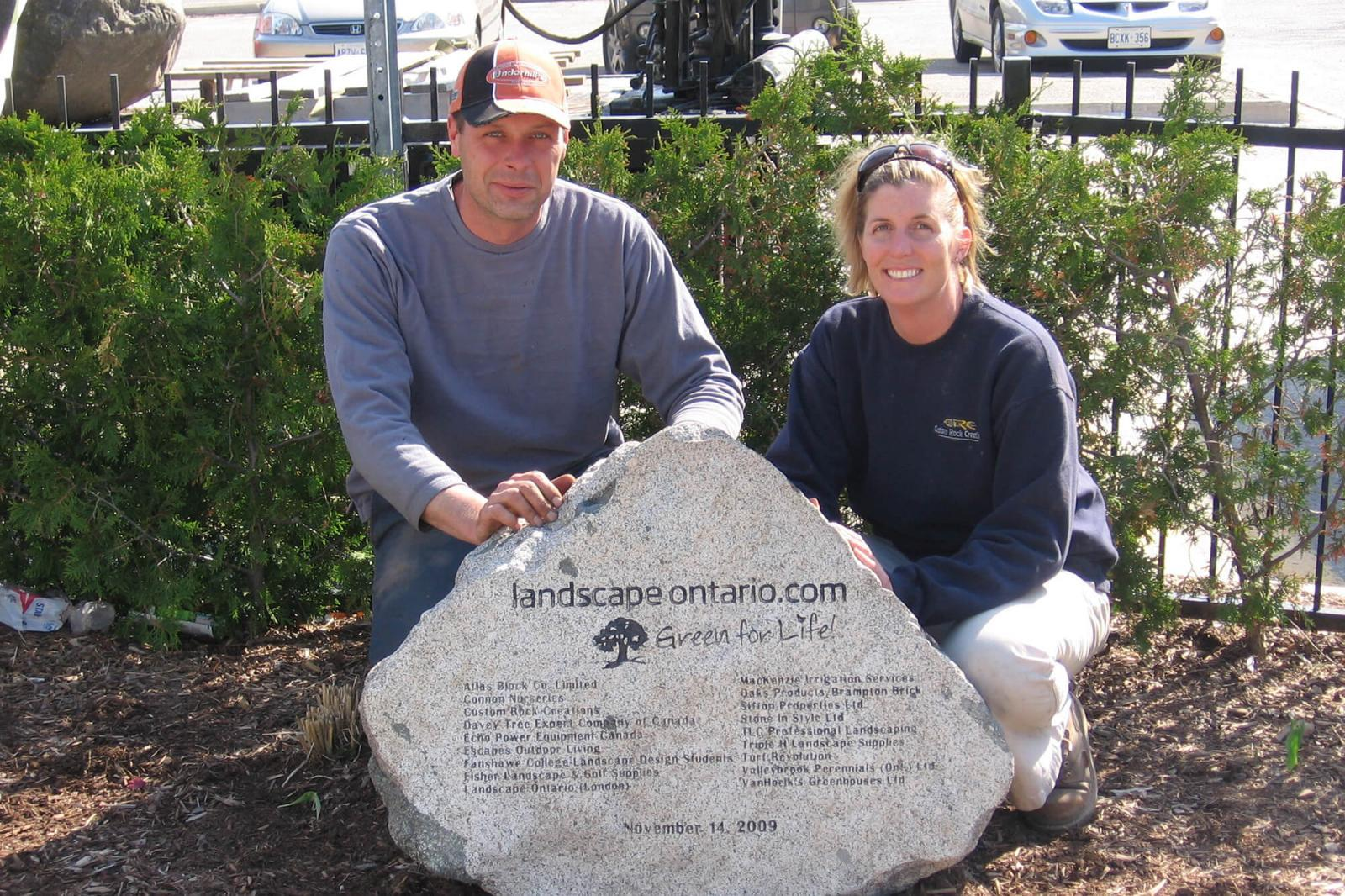 A Green for Life stone acknowledges sponsors that helped to create a beautiful garden.