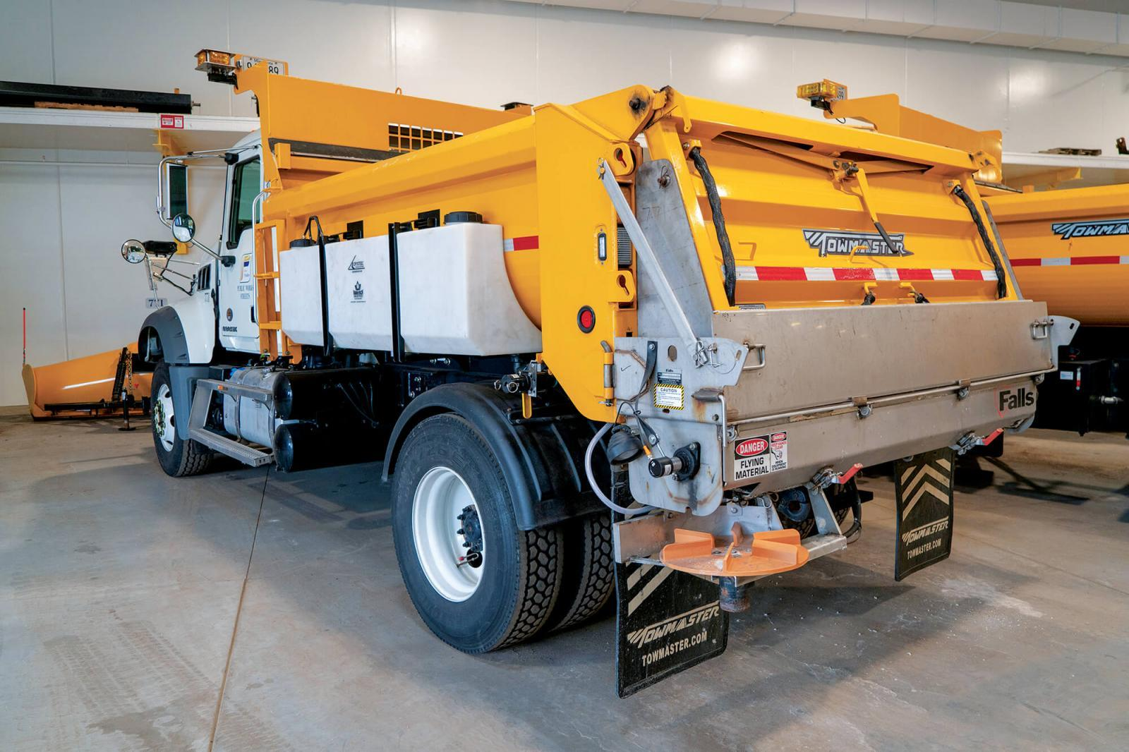 "Trucks outfitted with brining equipment. This equipment allows the driver to ""pre-wet"" rock salt with brine before spreading it on the road. This helps the salt stick to the pavement, which improves its effectiveness and reduces the overall amount of salt needed to treat roadways for icy conditions."