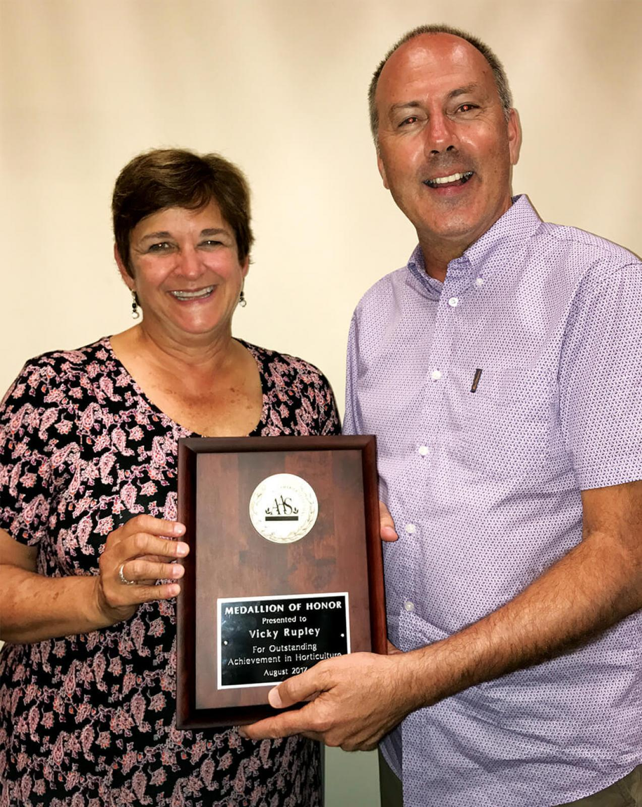 Vicky Rupley was honoured with the award for lifetime dedication to the advancement of horticulture.