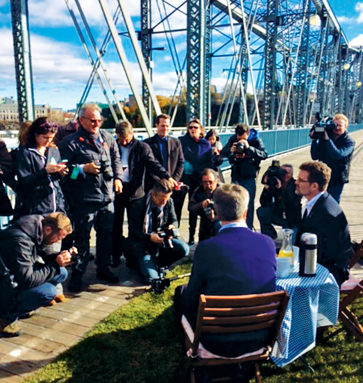 Picnic on the Bridge, complete with sod, was announced  at a media event.