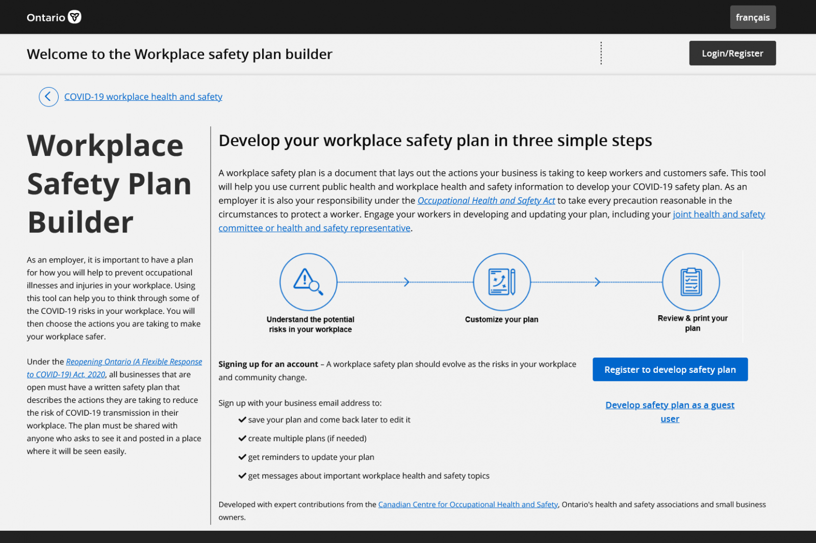 Build your own COVID Safety Plan online