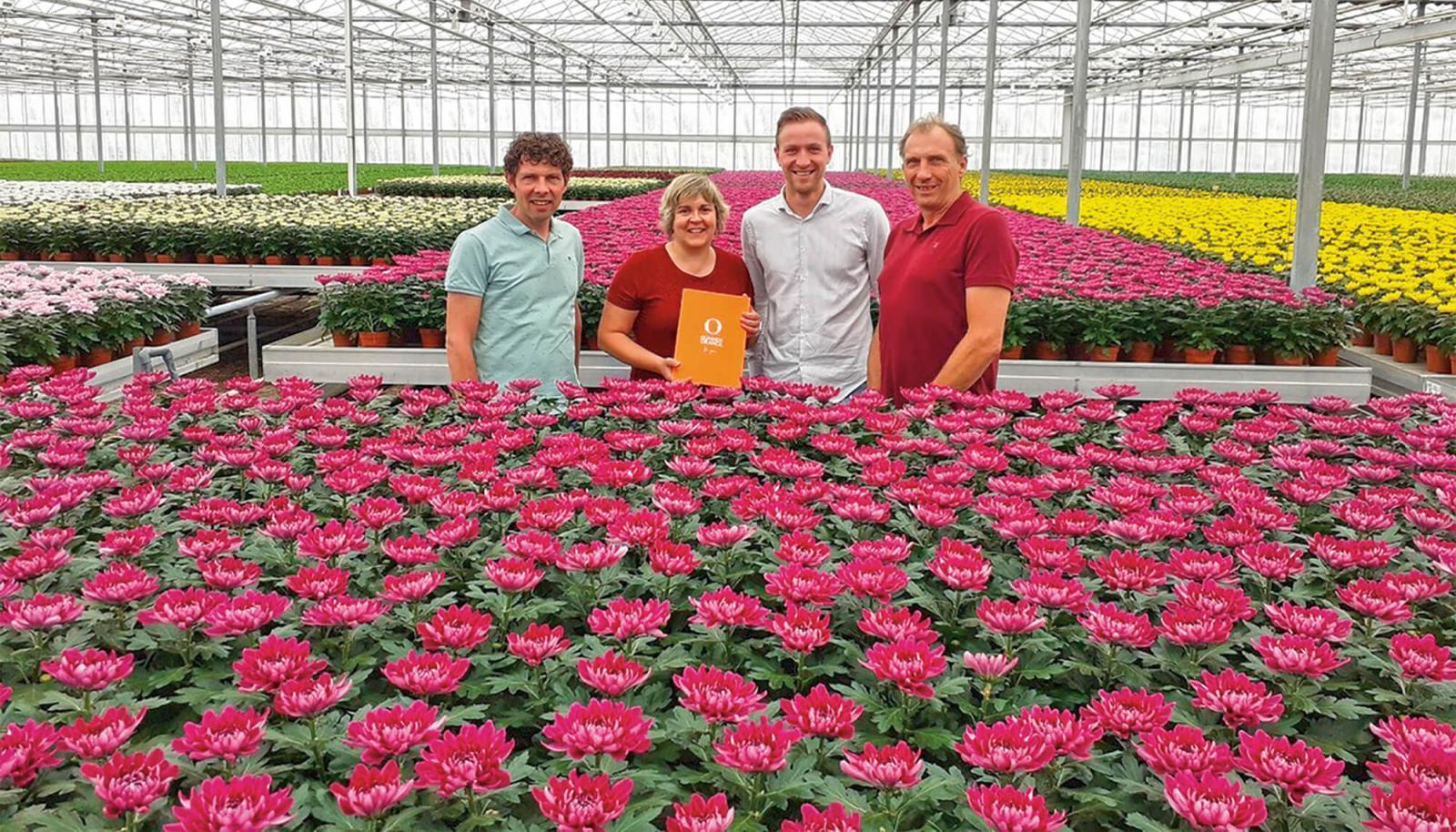 Left to right: Marcel van der Voort (owner of Van Schie),  Noëlia Mansilla (president EMEA of Dümmen Orange),  Mike van Os (global product manager, pot plants for Dümmen Orange) and Hans van Leeuwen (owner of Lionplant).